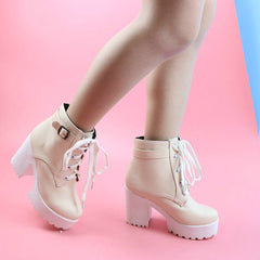 Shop Pink Heeled Ankle Boots at Boogzel Apparel