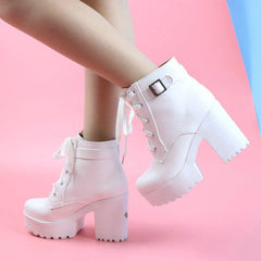 Buy Pink Heeled Ankle Boots at Boogzel Apparel Free Shipping