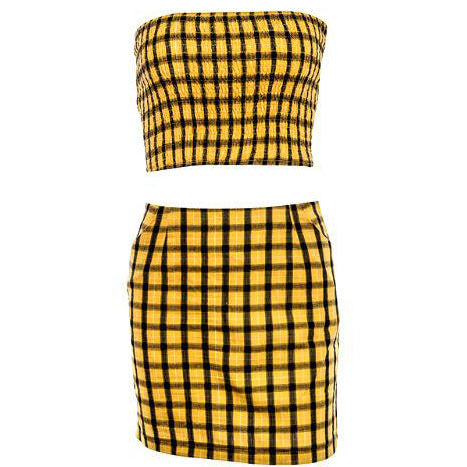 Plaid Top & Skirt Set