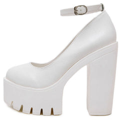 Platform Heeled Sandals white boogzel apparel