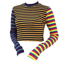 Ribbed Crop Knit crop top rainbow stripe striped