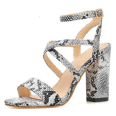 Shop Snakeskin Heeled Sandals Free Shipping