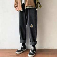 daisy embroidery wide grunge pants boogzel apparel