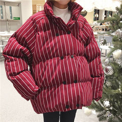 Striped Padded Jacket red