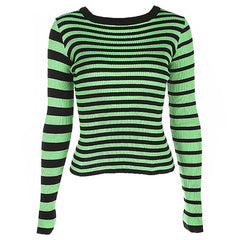 Striped Ribbed Sweater green black boogzel apparel