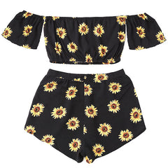 Sunflower Top & Shorts Set daisy black