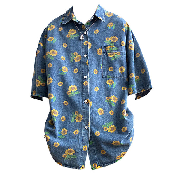 Sunflowers Denim Shirt