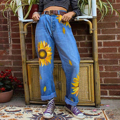 Sunflowers Mom Jeans