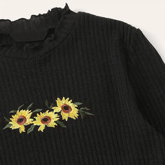 Sunflowers Ribbed Top