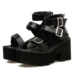 Triple Buckle Platform Sandals leather chunky platforms