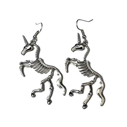Unicorn Skeleton Earrings