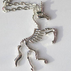 Unicorn Skeleton Pendant Necklace