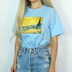 van gogh t-shirt Wheat Field with Cypresses Tee boogzel apparel