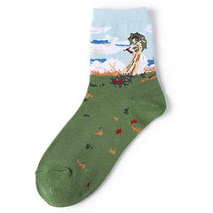Woman with a Parasol Monet Socks