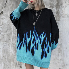 blue flame sweater boogzel apparel