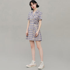plaid blue vintage dress boogzel apparel