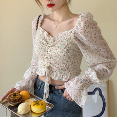floral long sleeve crop top boogzel