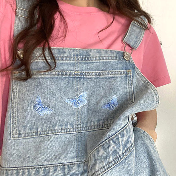 Butterfly Denim Dungaree Shorts