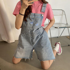 Butterfly Denim Dungaree Shorts aesthetic clothes outfit boogzel apparel