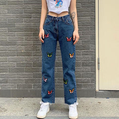 Butterfly Embroidery Jeans