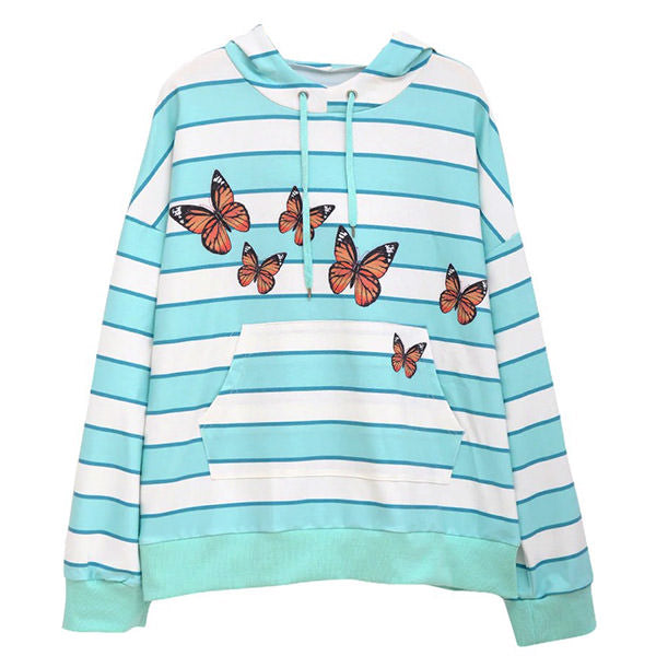 Ur My Butterfly Striped Hoodie