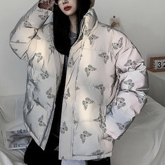 Butterfly Reflective Puffer Jacket boogzel apparel