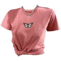 butterfly embroidery t-shirt pink boogzel apparel