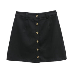 button front aesthetic skirt