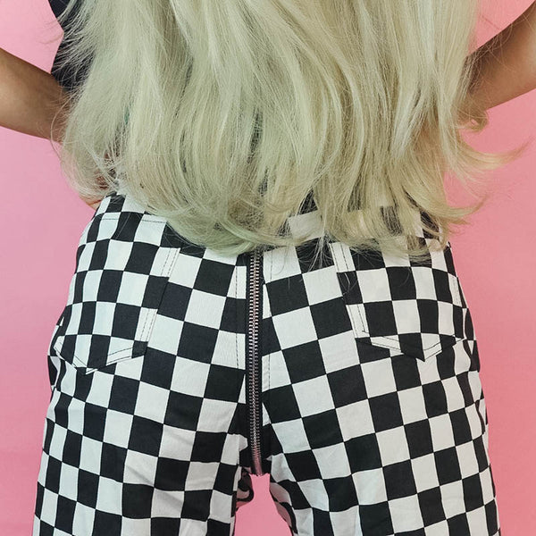 Checkered Full Zip Pants