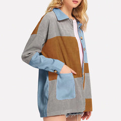 corduroy color block jacket boogzel
