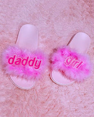 Daddy Girl Fur Sandals - Boogzel Apparel - 2