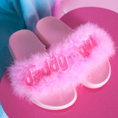 Daddy Girl Fur Sandals - Boogzel Apparel - 1