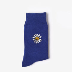 daisy socks flower floral embroidery