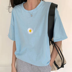 blue daisy embroidery t-shirt boogzel apparel