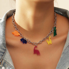 dinosaur colorful necklace boogzel apparel