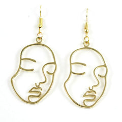 Face Outline Drop Earrings