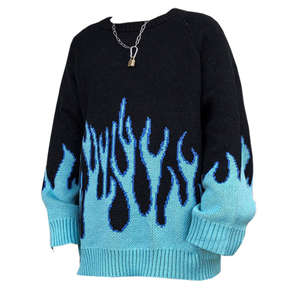 Vintage Blue Flame Sweater
