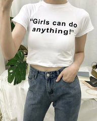 Girls Can Do Anything  crop top white boogzel apparel