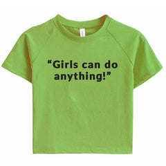 Girls Can Do Anything Crop Tee green boogzel apparel