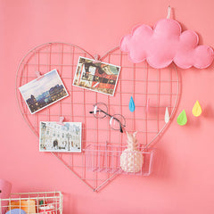 Heart-Shaped Grid Wall Organizer