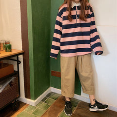 stripe collar long sleeve tshirt boogzel
