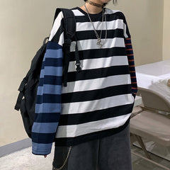 grunge striped lonsleeve aesthetic clothes