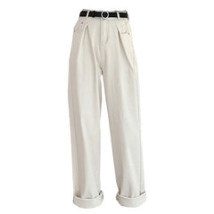 white wide grunge pants
