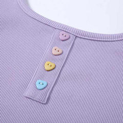 Heart Button Ribbed Top