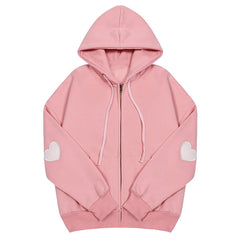 pink Heart Elbow Patch Hoodie boogzel apparel buy shop
