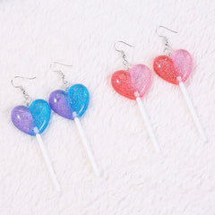 glitter Heart Lollipop candy Earrings