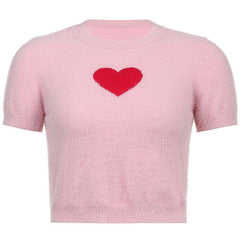 heart fluffy crop top boogzel apparel