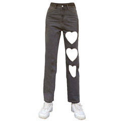 heart cut out jeans boogzel apparel