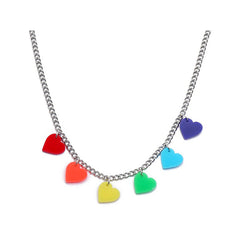 rainbow heart necklace boogzel apparel