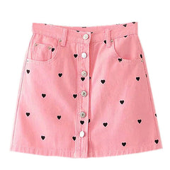 heart pink denim skirt boogzel apparel